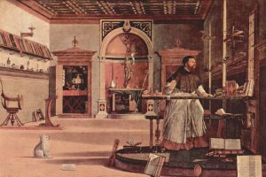 Carpaccio's St Augustine (and his little dog) see a vision of St Jerome being received into heaven.