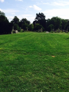 The walls can be seen as 'crop marks' in the grass in this photo: the apse is at the far end.