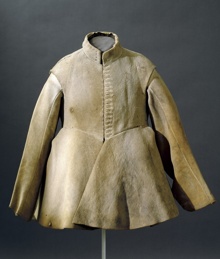 This is the buff coat of Gustavus II Adolf, king of Sweden. Sadly, protective clothing did not save his life at the battle of Lützen in 1632. Is it elk-skin?