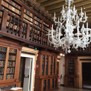 Part of the library of the Istituto dei Scienze, Arte e Lettere, Palazzo Loredan, Campo S. Stefano.