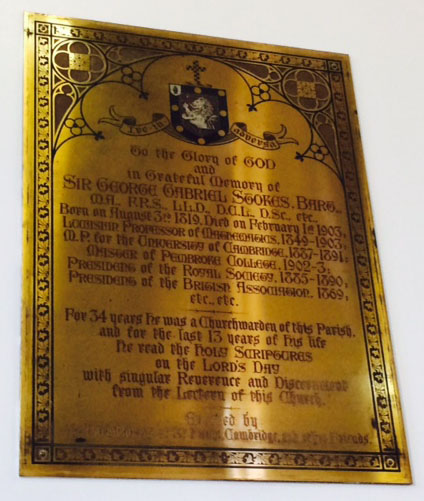 The memorial brass to Stokes in St Paul's church.