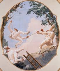 Punchinellos playing swings, perhaps a parody of Fragonard?
