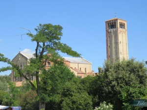 The tower and cathedral of Sta Maria Assunta on Torcello: the tower is at last almost free of its corset of scaffolding.