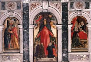 Vivarini's triptych in Sta Maria Formosa: on the left, the meeting of Joachim and Anna; on the right, the birth of the Virgin.