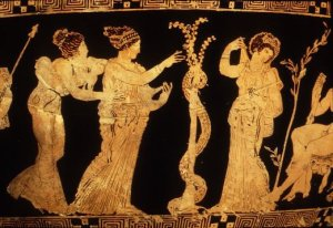 A red-figure vase showing three of the Hesperides with the magic apple tree, Ladon the snake twisting round the trunk.