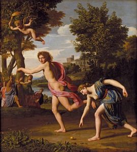 Atalanta is distracted by bling, by Nicolas Colombel (1644–1717).
