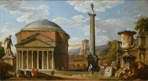 In this 'Capriccio' of Roman ruins by G.P. Pannini, the Farnese Hercules is put into unreal juxtaposition with the Pantheon, Trajan's Column, a massive stone urn., and other architectural fragments.