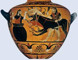 ... while, further round the pot, the cowardly Eurystheus takes cover.