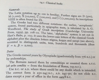 Useful notes on classical date conventions. Note the assumption that Roman numerals up to 100 are familiar...