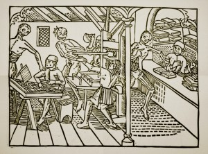 From 1499, one of the earliest depictions of a press, as the dance of death makes its way through a print shop. (The proofreader looks annoyed at being disturbed.)