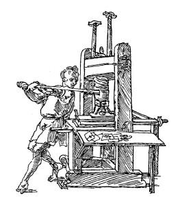 Dürer's sketch of a press in action.