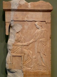 The gravestone of Mynia (Athens, c. 370 BCE). (Credit: Getty Museum.)
