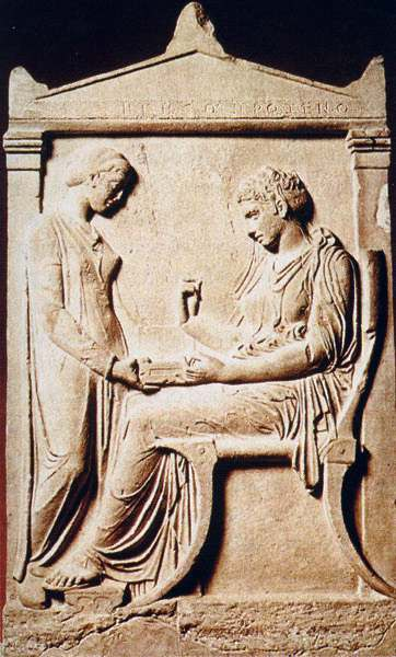 The stele of Hegeso, from the Dipylon cemetery at Athens, c. 410 BCE.