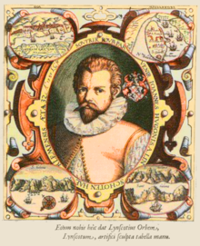 Linschoten: a colour version of the fontispiece of his book, with St Helena bottom right.