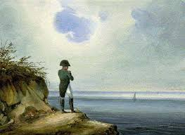 The exiled Napoleon gazes in the general direction of France.