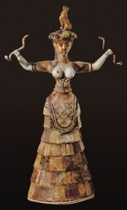 Minoan figurine from Crete, the so-called 'Snake Goddess', not veiled.