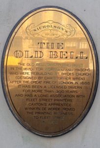 Sign on the Old Bell pub, Fleet Street.