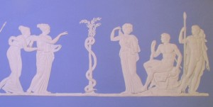 A modern Wedgwood plaque deriving from the image above: Hercules sits next to the nymph on the right of the tree.