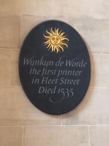 Wynken de Worde's memorial plaque, in the church where he was buried.