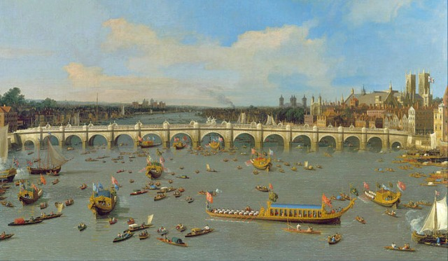 Canaletto's idealised view of the water-borne procession in 1747.