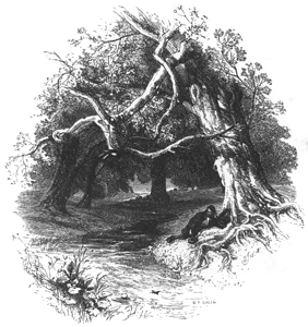 Illustration by Myles Birket Foster for Gray's 'Elegy', in the collection of Favourite English Poems, published in 1862 by Sampson Low.