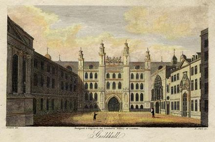 The Guildhall, seat of London's goverment, about 1805.