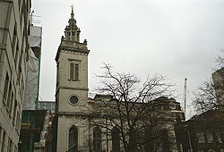 Wren's church of St Michael Paternoster Royal today. The position of Whittington's grave is not known.