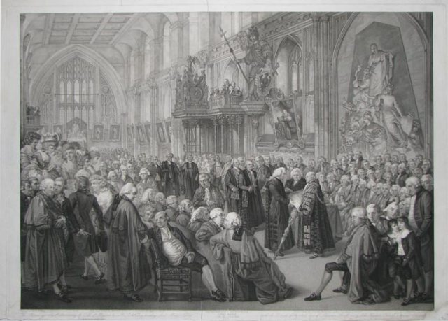 Alderman Newnham takes the oath at Guildhall in 1782. A print by the firm of John Boydell, who himself became Lord Mayor in 1790.