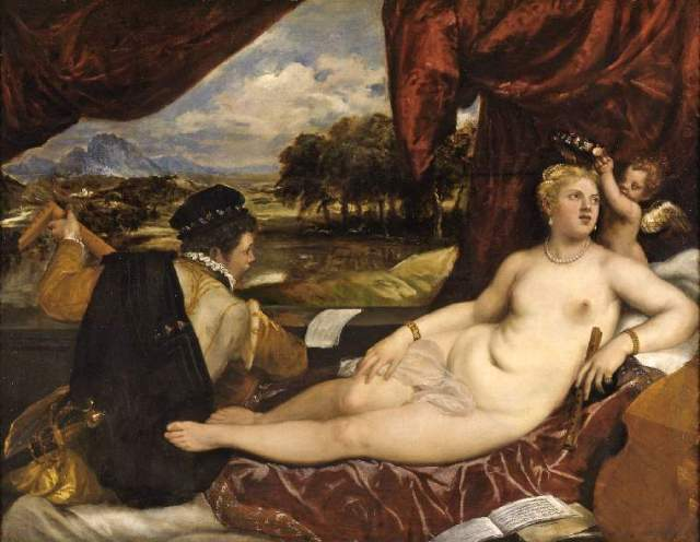 Titian's 'Venus with lute-player'. Credit: the Fitzwilliam Museum.