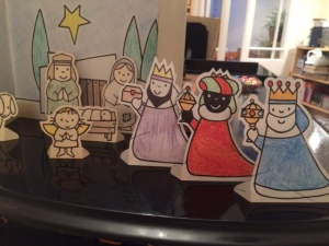 The three kings arrive at the manger, in Dick Bruna's version. (Colouring by CEM.)