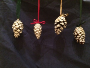 Silvered pinecones.