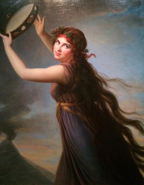 Emma Hamilton as a Bacchante, with Vesuvius in the background.