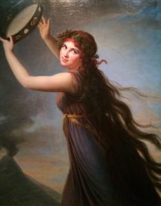 Emma Hamilton as a Bacchante, painted by Elisabeth Vigée Le Brun in Naples, 1791.