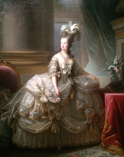 Marie Antoinette in court dress (1778), holding a Bourbon rose.
