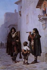 Two versions of 'pifferari' groups by Jean-Léon Gérôme.