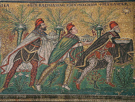 These three kings bearing gifts in the church of Sant' Apollinare Nuovo in Ravenna have Persian caps and leggings.