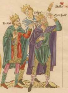The three kings see the star, from the Hortus deliciarum by Abbess Herrad of Landsberg (reproduced by Christian Maurice Engelhardt, 1818).