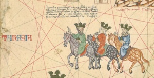 The three kings on their journey, from the Catalan Atlas (Bibliothèque Nationale, Paris).