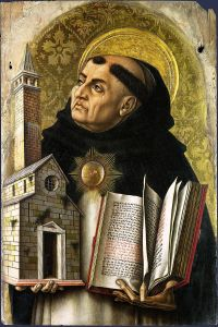 St Thomas Aquinas modelling the Roman tonsure, by Carlo Crivelli. London: The National Gallery.