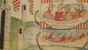The arrival of the Aragonese at Trapani: Pedro is in the upper boat, with a crown round his hat.