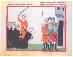 The execution of Conradin. (Biblioteca Apostolica Vaticana, Cod. Chigi L VIII 296, fol. 112v).