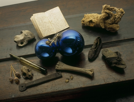 Witch balls (and a witch bottle) in the Museum of Cambridge. (Credit: The Museum of Cambridge)
