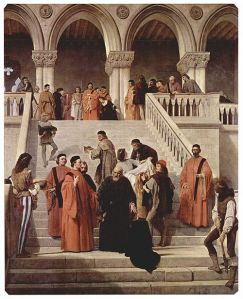 In this nineteenth-century work by Francesco Hayez, the Council of Ten assemble in the courtyard of the Doge's Palace to witness the execution of the Doge Marin Faliero.