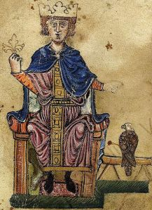 Frederick II, Holy Roman Emperor, with a falcon. He had written a treatise on hunting with birds. (Biblioteca Vaticana, Pal. lat 1071)
