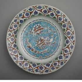 An Iznik plate from the Wallace Collection: the red colour comes from Armenian bole.