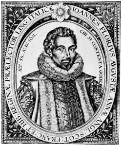 Florio's portrait, from the second edition (1611) of his dictionary.