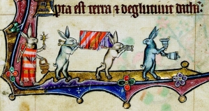 Rabbits conduct a funeral, from the Macclesfield Psalter. (Credit: the Fitzwilliam Museum)