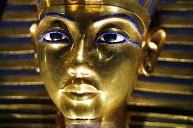 The face-mask of Tutankhamun, inlaid with lapis lazuli.