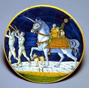 A maiolica plate in the Fitzwilliam Museum.