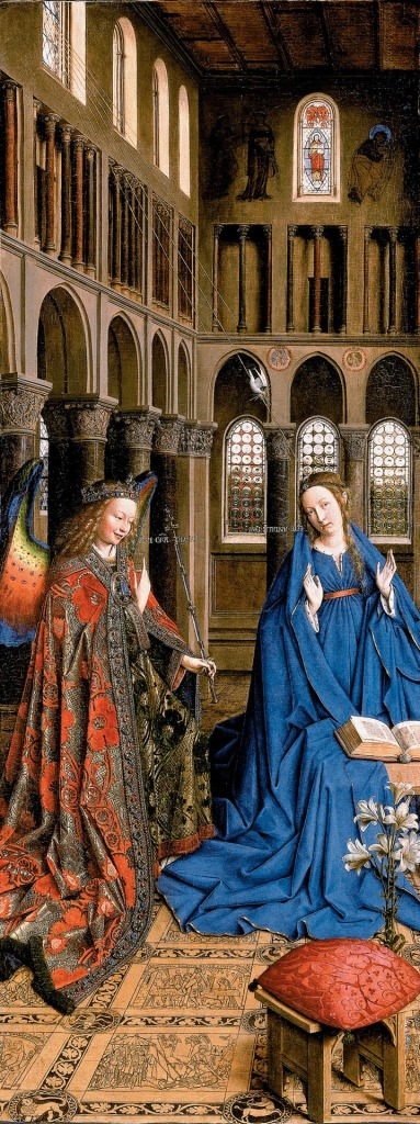 Van Eyck's 'Annunciation', in the National Gallery of Art, Washington, D.C. Lapis lazuli is used for the Virgin's robe and details of the sumptuous clothing and wings of the angel.